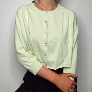 pastel green cropped sweater